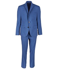 Big Boys Classic-Fit Blue Textured Suit Separates