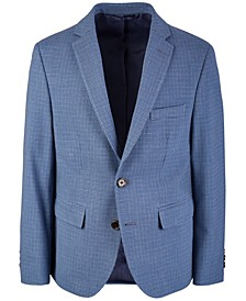 Big Boys Classic-Fit Stretch Blue/Brown Mini-Check Suit Jacket