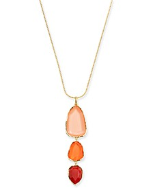 """Triple Stone Pendant Necklace, 32"""" + 3"""" extender, Created for Macy's"""