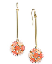 INC Gold-Tone Coral Flower Ball Linear Drop Earrings, Created for Macy's