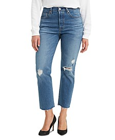 Crop Distressed Straight-Leg Jeans