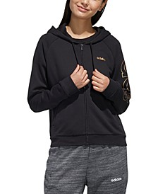 Women's Essentials Metallic-Logo Zip Hoodie
