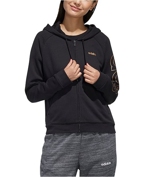 adidas Women's Essentials Metallic-Logo Zip Hoodie