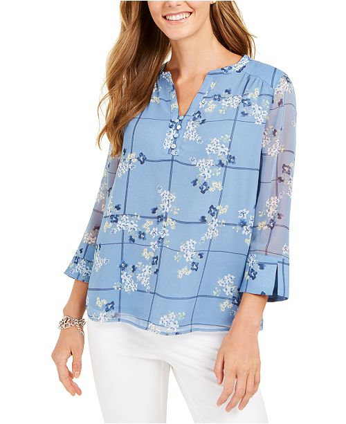 Charter Club Printed Split-Sleeve Knit Tunic Top, Created for Macy's