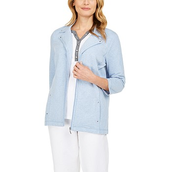 Karen Scott French Terry Notched-Collar Jacket
