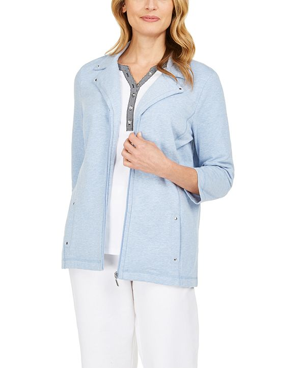 Karen Scott French Terry Notched-Collar Jacket, Created for Macy's