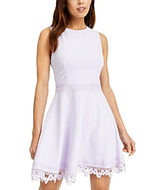 Juniors' Lace-Trim A-Line Dress