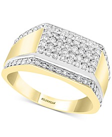 EFFY® Men's Diamond Cluster Ring (7/8 ct. t.w.) in 14k Gold & White Gold
