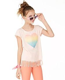 Big Girls Rainbow Heart Fringe T-Shirt, Created for Macy's
