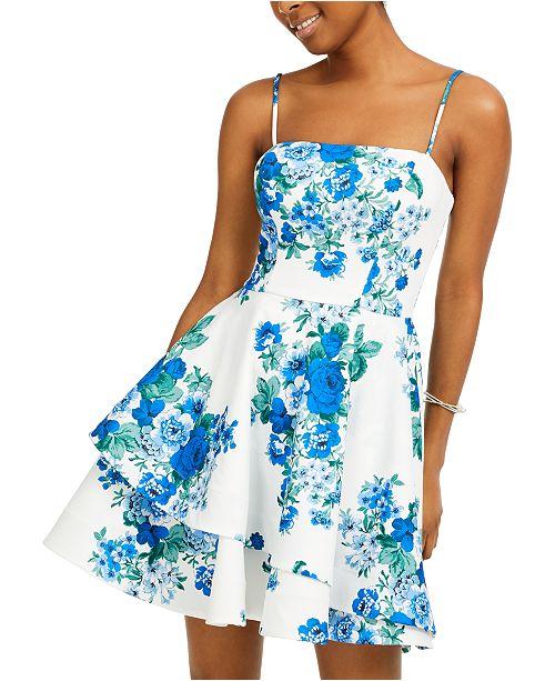 B Darlin Juniors' Floral-Print Scuba Crepe Dress