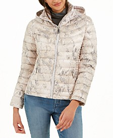 Snakeskin Printed Hooded Puffer Coat