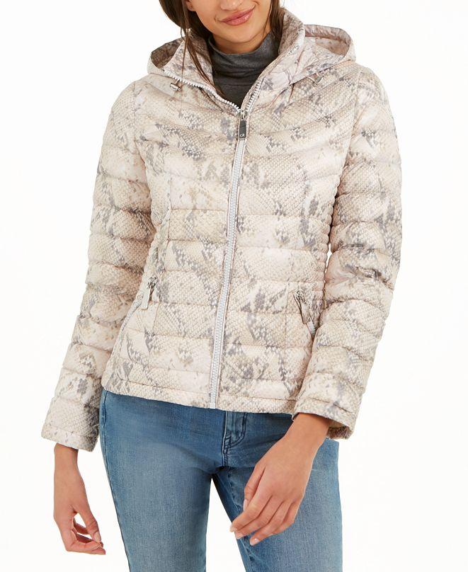 Calvin Klein Snakeskin Printed Hooded Puffer Coat