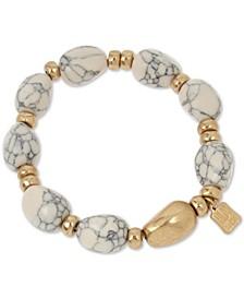 Gold-Tone & Stone Beaded Stretch Bracelet