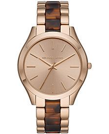 Michael Kors Women's Runway Slim Beige Gold-Tone Stainless Steel & Tort Acetate Bracelet Watch 42mm