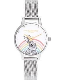 Women's Illustrated Animals Stainless Steel Mesh Bracelet Watch 30mm