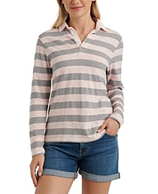 Striped Long-Sleeve Rugby Top