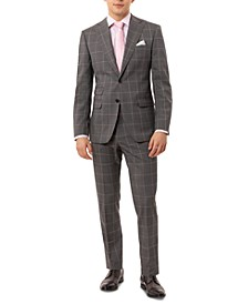 Men's Slim-Fit Stretch Gray Windowpane Suit Separates