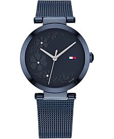 Women's Blue Stainless Steel Mesh Bracelet Watch 32mm, Created for Macy's