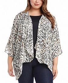Plus Size Animal-Print Drape-Front Kimono