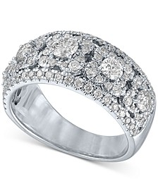 Diamond Multi-Cluster Vintage-Look Band (1-1/2 ct. t.w.) in 14k White Gold