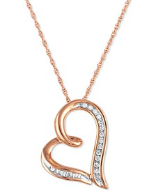 "Diamond Heart 18"" Pendant Necklace (1/10 ct. t.w.) in 10k Rose Gold"