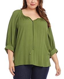 Plus Size Blouson-Sleeve Peasant Top