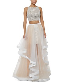 Juniors' Two-Piece Beaded Top & A-Line Skirt Gown