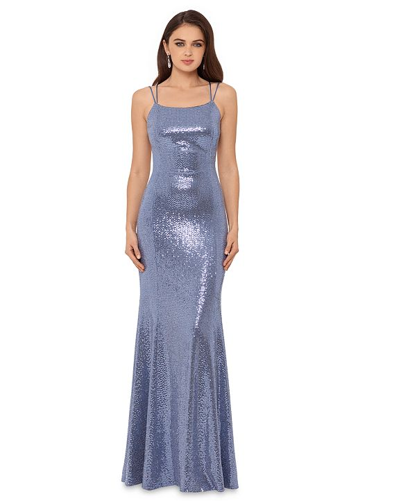 Betsy & Adam Sequined Lace-Up Gown