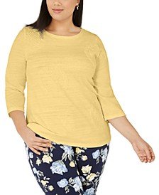 Plus Size Cotton Knit Top, Created for Macy's