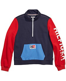 Women's Half-Zip Sweatshirt with Wide Opening