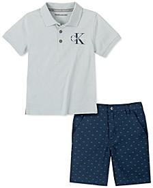 Little Boys 2-Pc. Logo-Print Polo Shirt & Twill Shorts Set