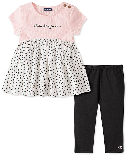 Calvin Klein Little Girls 2-Pc. Polka-Dot Tunic & Leggings Set