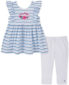 Toddler Girls 2-Pc. Striped Ruffled Tunic & Leggings Set