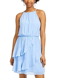 Juniors' Clip-Dot Ruffled Blouson Dress