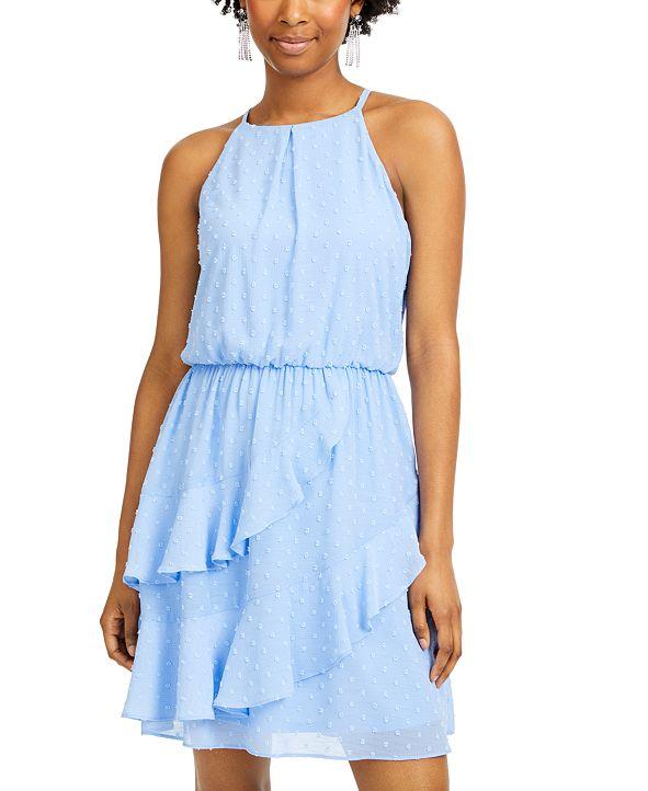 BCX Juniors' Clip-Dot Ruffled Blouson Dress