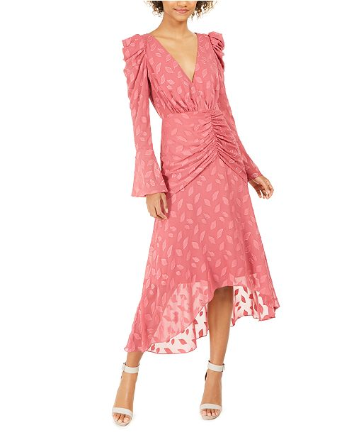 Rachel Zoe Vicente Printed Ruched High-Low Dress