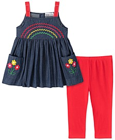 Toddler Girls 2-Pc. Embroidered Chambray Tunic & Leggings Set