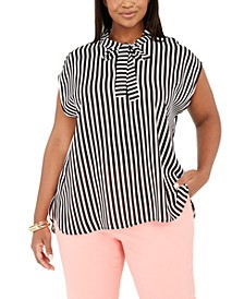 Trendy Plus Size Tie-Neck Striped Top, Created for Macy's