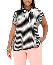 Bar III Trendy Plus Size Tie-Neck Striped Top, Created for Macy's