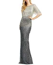 Fringed Ombré Gown
