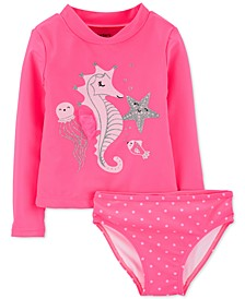 Toddler Girls 2-Pc. Seahorse Rash Guard Set