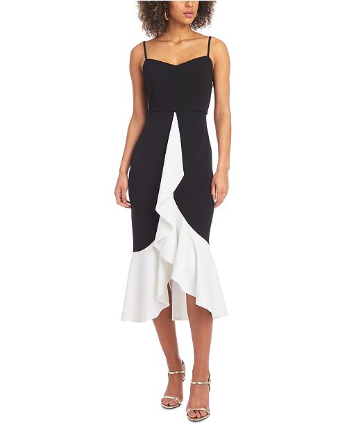 Christian Siriano New York Ruffle-Front Colorblocked Dress