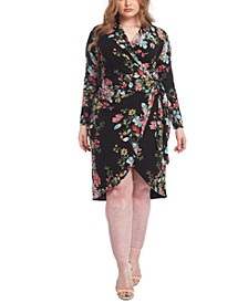 Trendy Plus Size Floral-Print Knot Front Jersey Dress