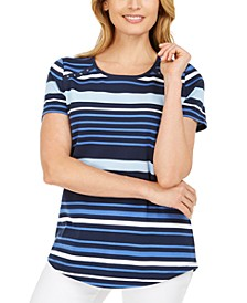 Petite Striped Rivet-Trim Top, Created for Macy's
