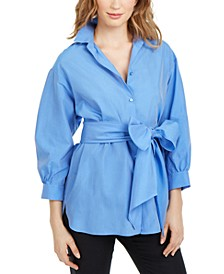 Bow-Sash Tunic Shirt