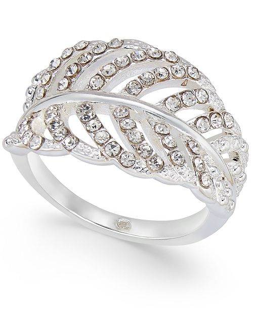 Charter Club Silver-Tone Crystal Leaf Statement Ring, Created For Macy's
