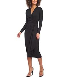 Drape-Front Jersey Midi Dress