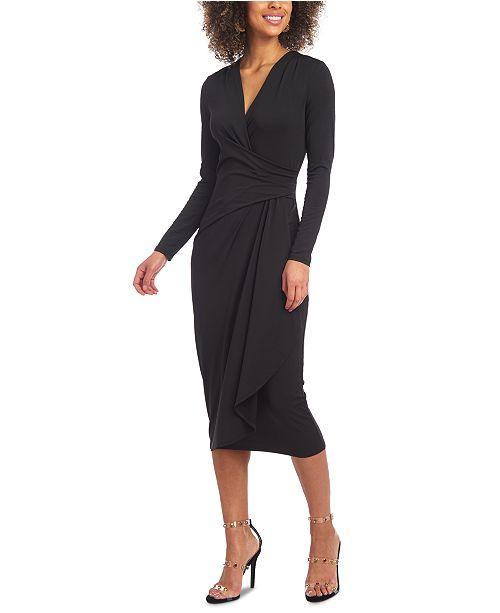 Christian Siriano New York Drape-Front Jersey Midi Dress