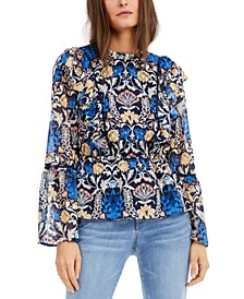INC Printed Bell-Sleeve Top, Created for Macy's
