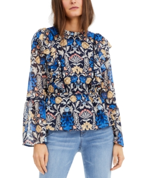 I.n.c. Petite Floral-Print Ruffle Blouse, Created for Macy's